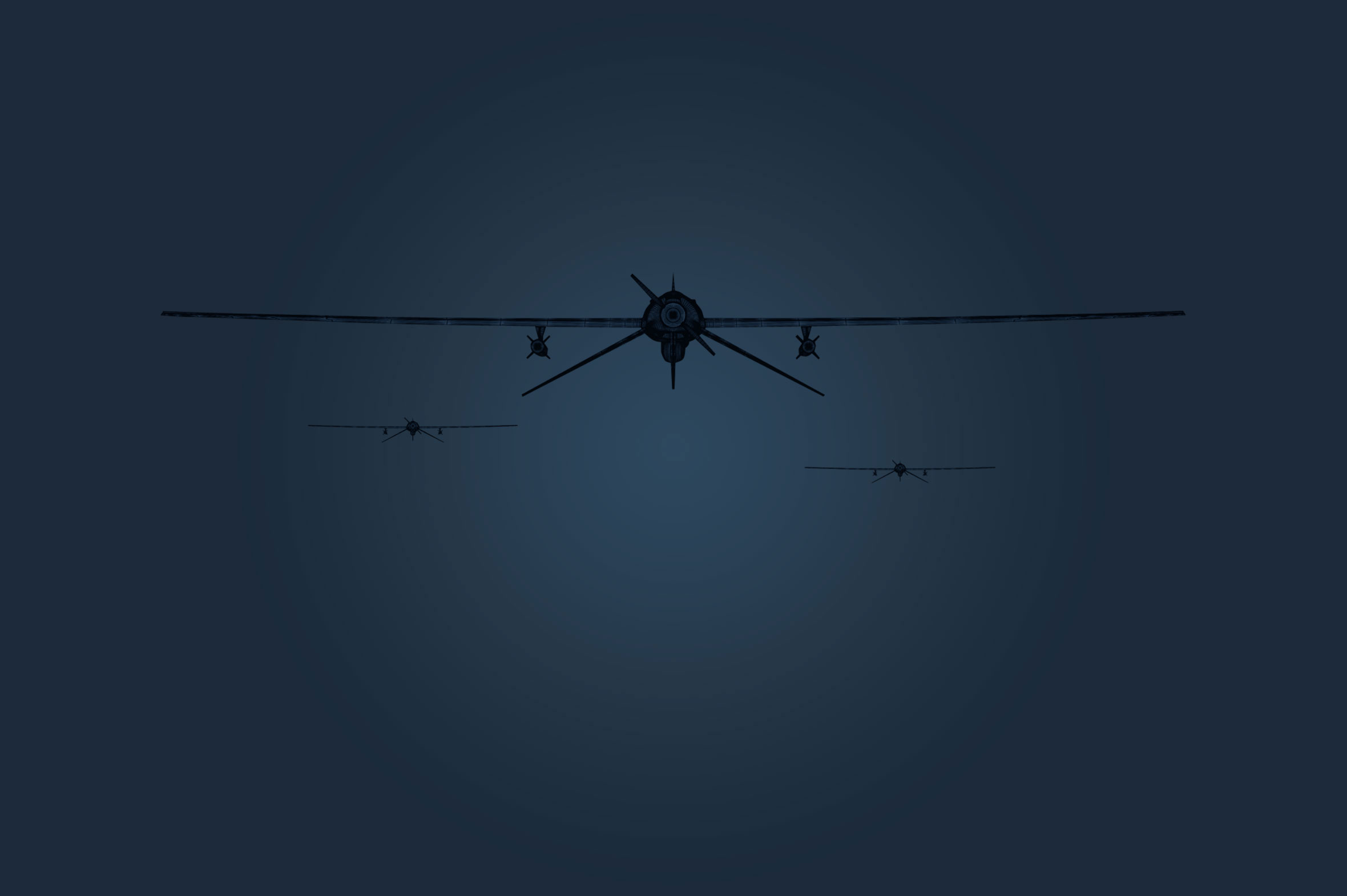 Graphic of drones in a dark sky