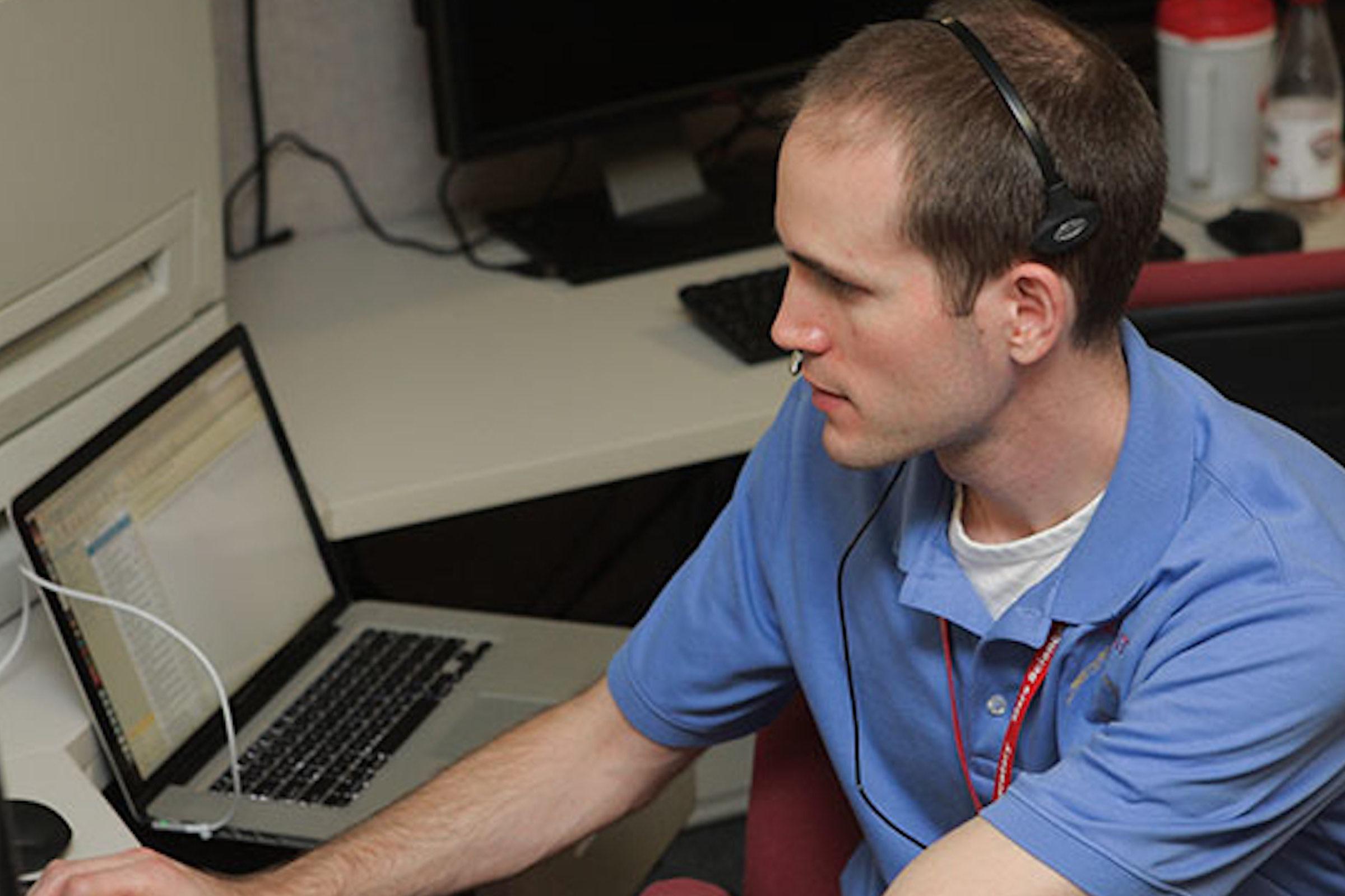 Eric Gustafson working at JPL.