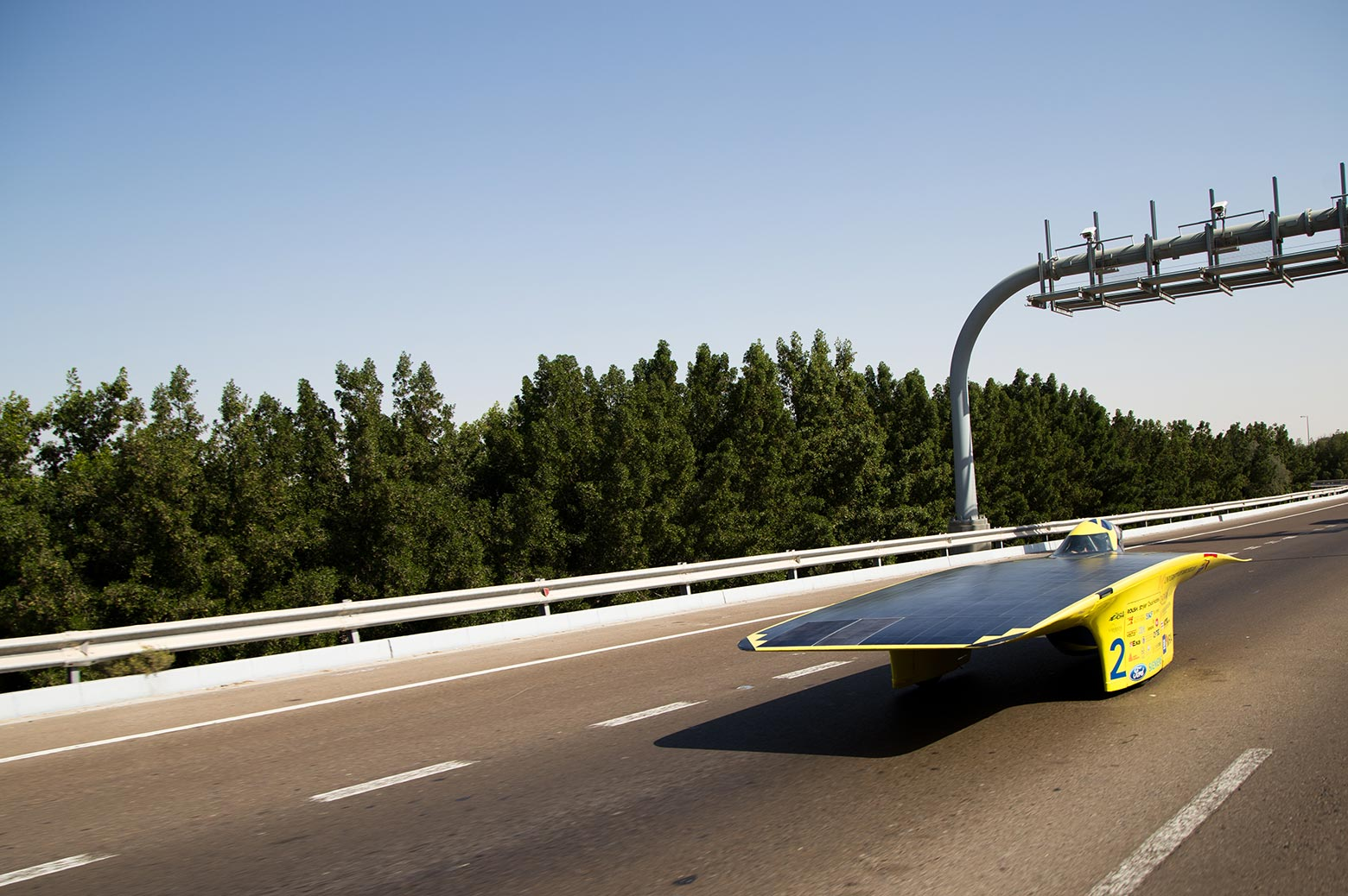 Solar powered car cruises down the road