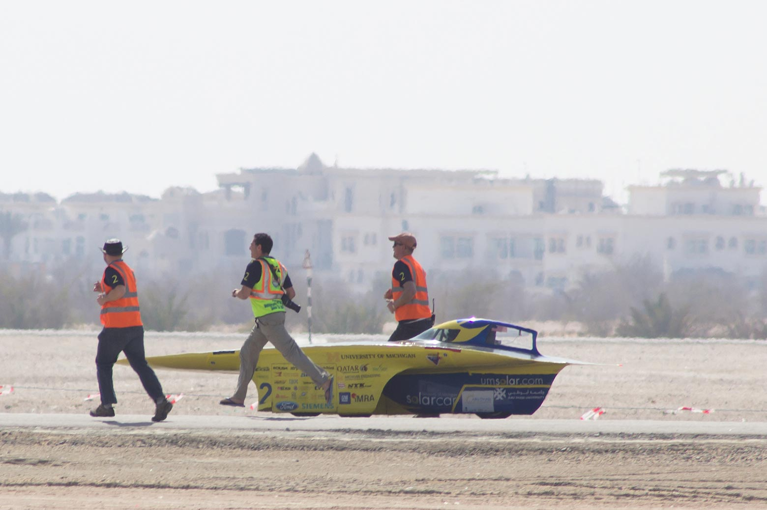 Solar car team preparing for the competition