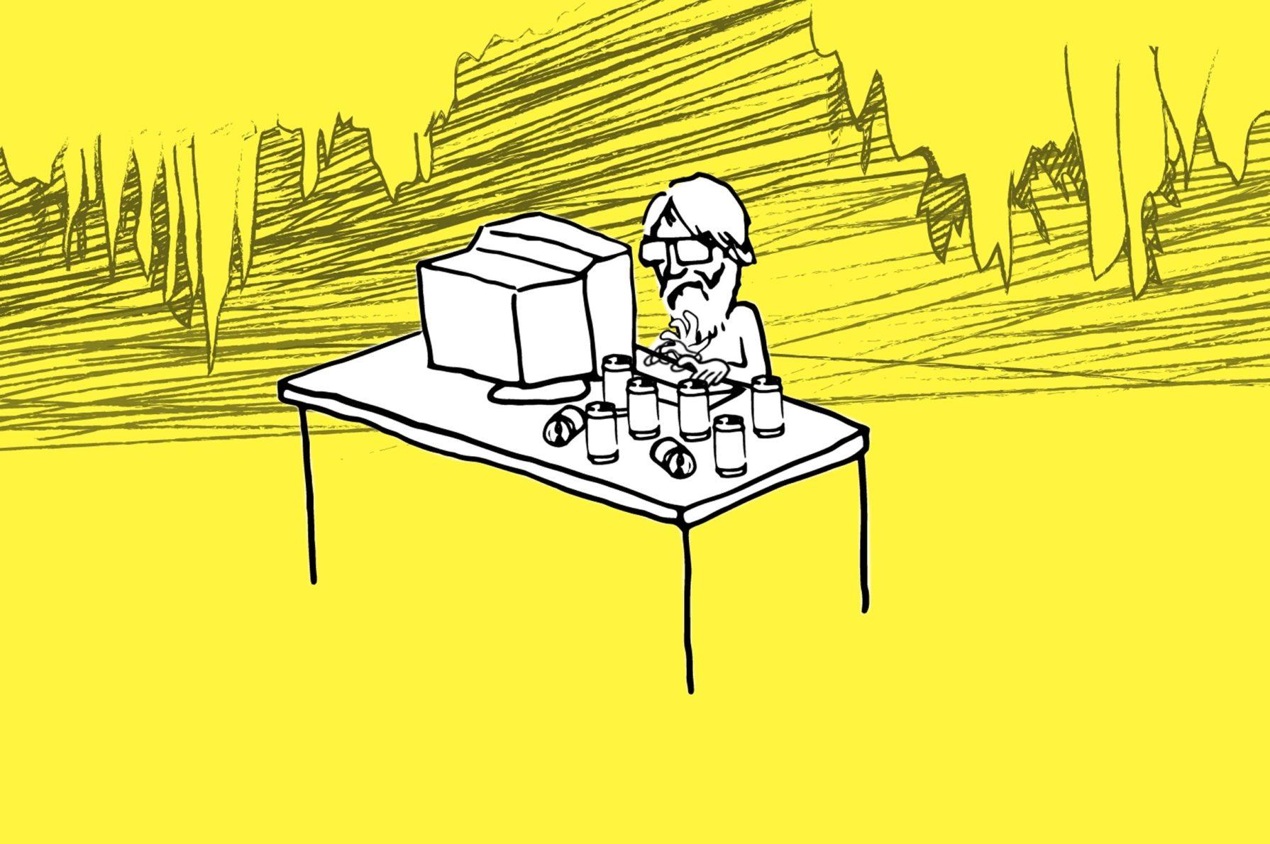 Sketch of programmer at desk. Illustration: Steve Alvey, Michigan Engineering.