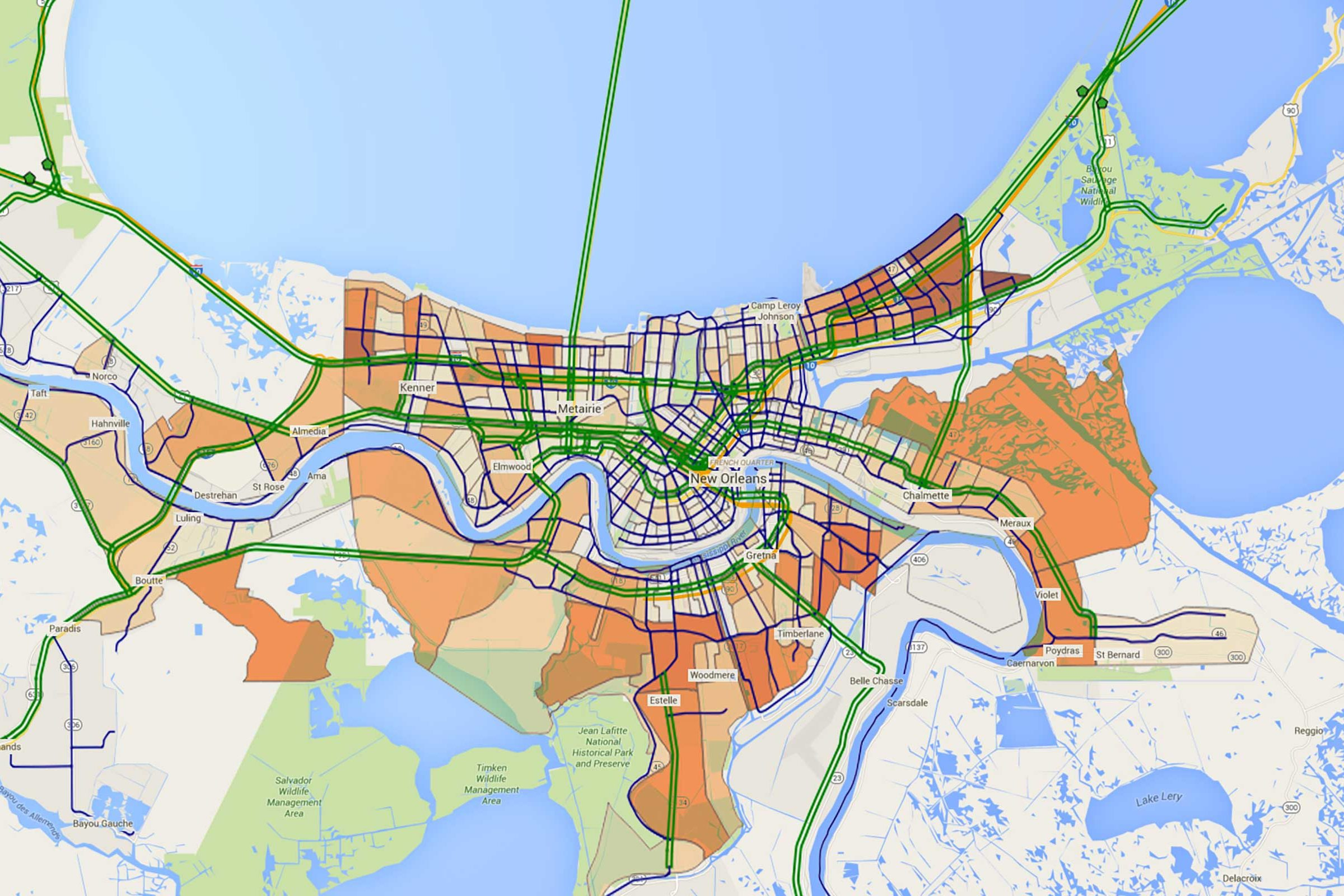 A map of New Orleans showing optimized evacuation plan