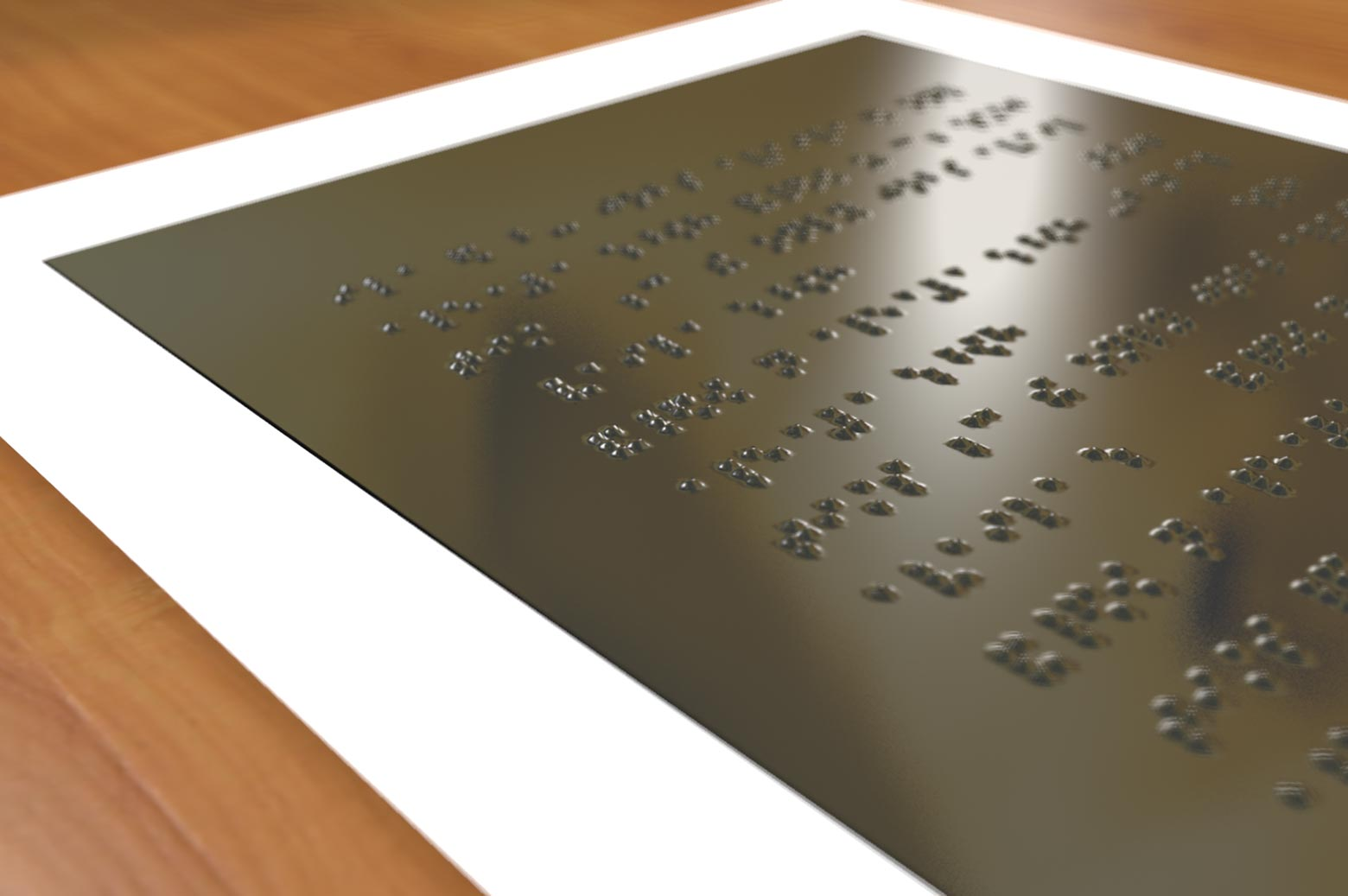 Tablet showing Braille