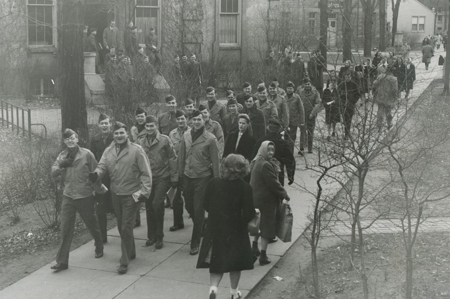 Soldiers walking through the Michigan - Ann Arbor campus