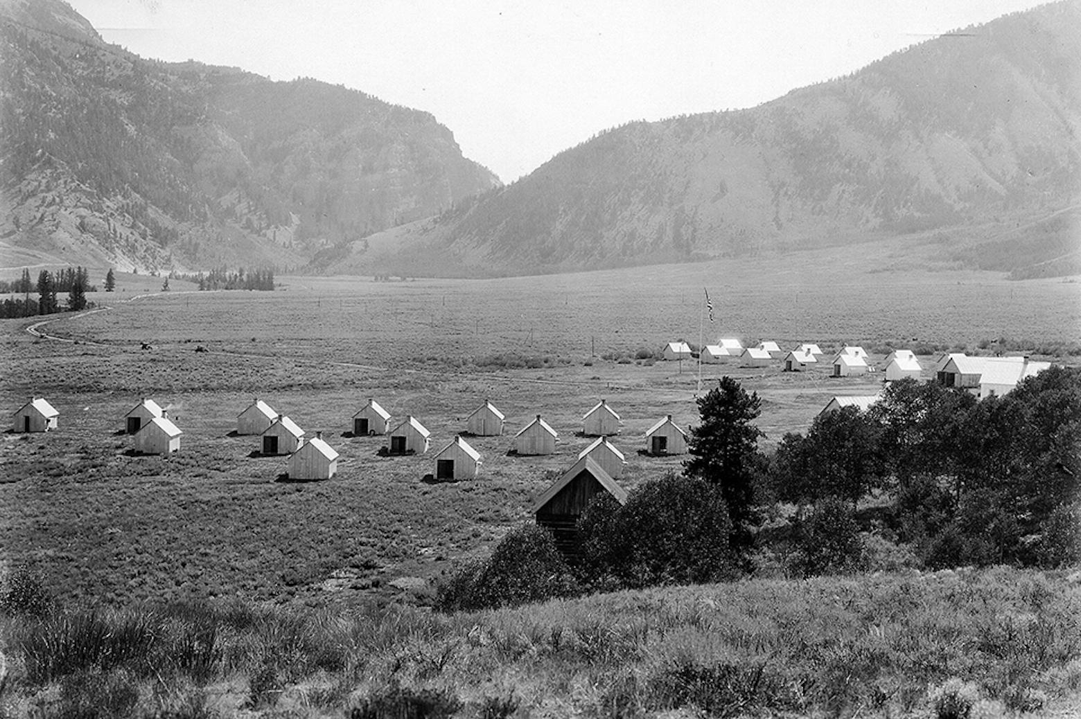 The Camp Davis cabins in a field