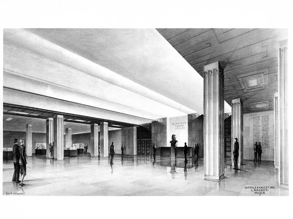 drawing of the interior of the Mortimer Cooley Building