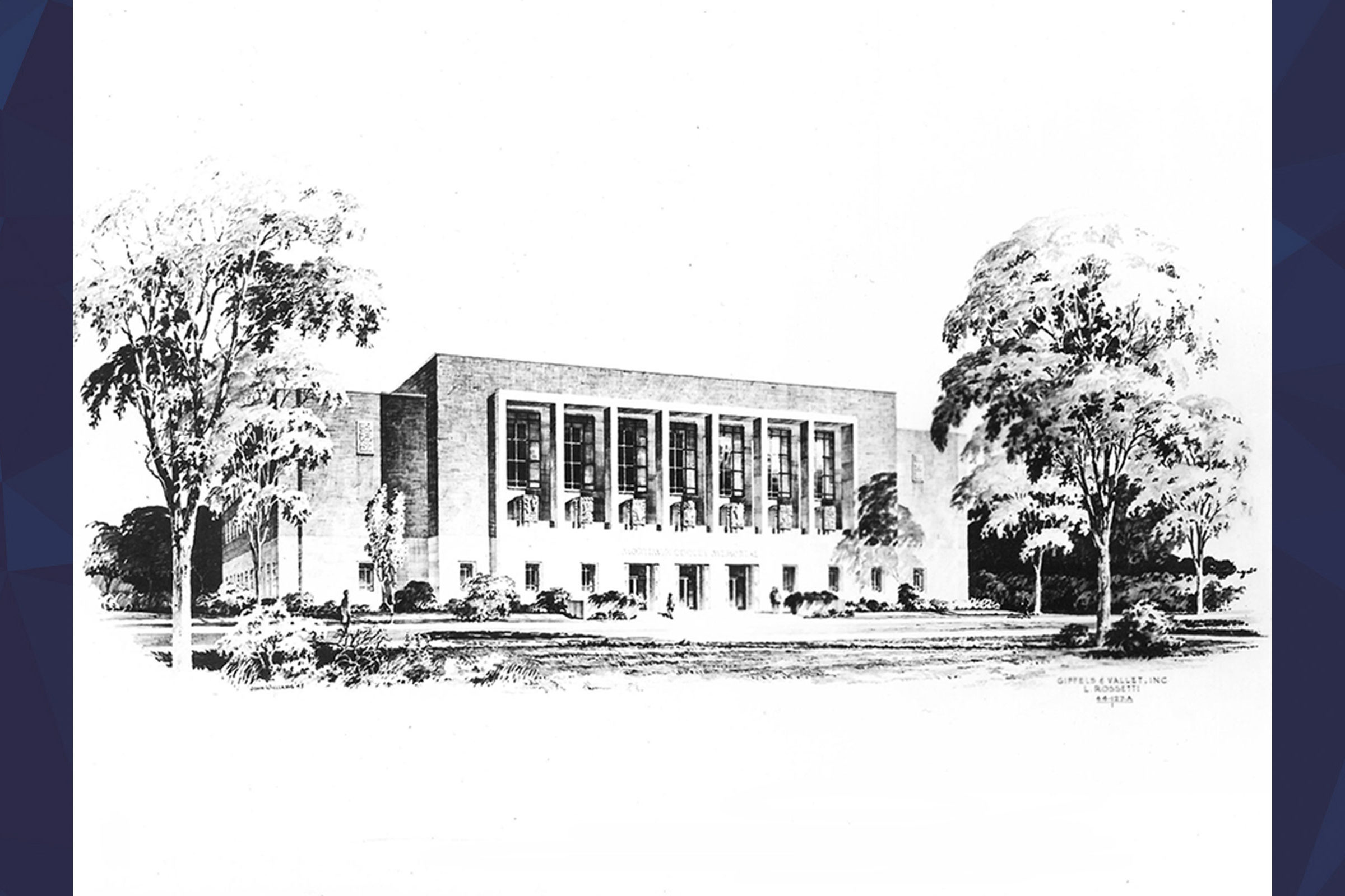 drawing of the Cooley Memorial Building