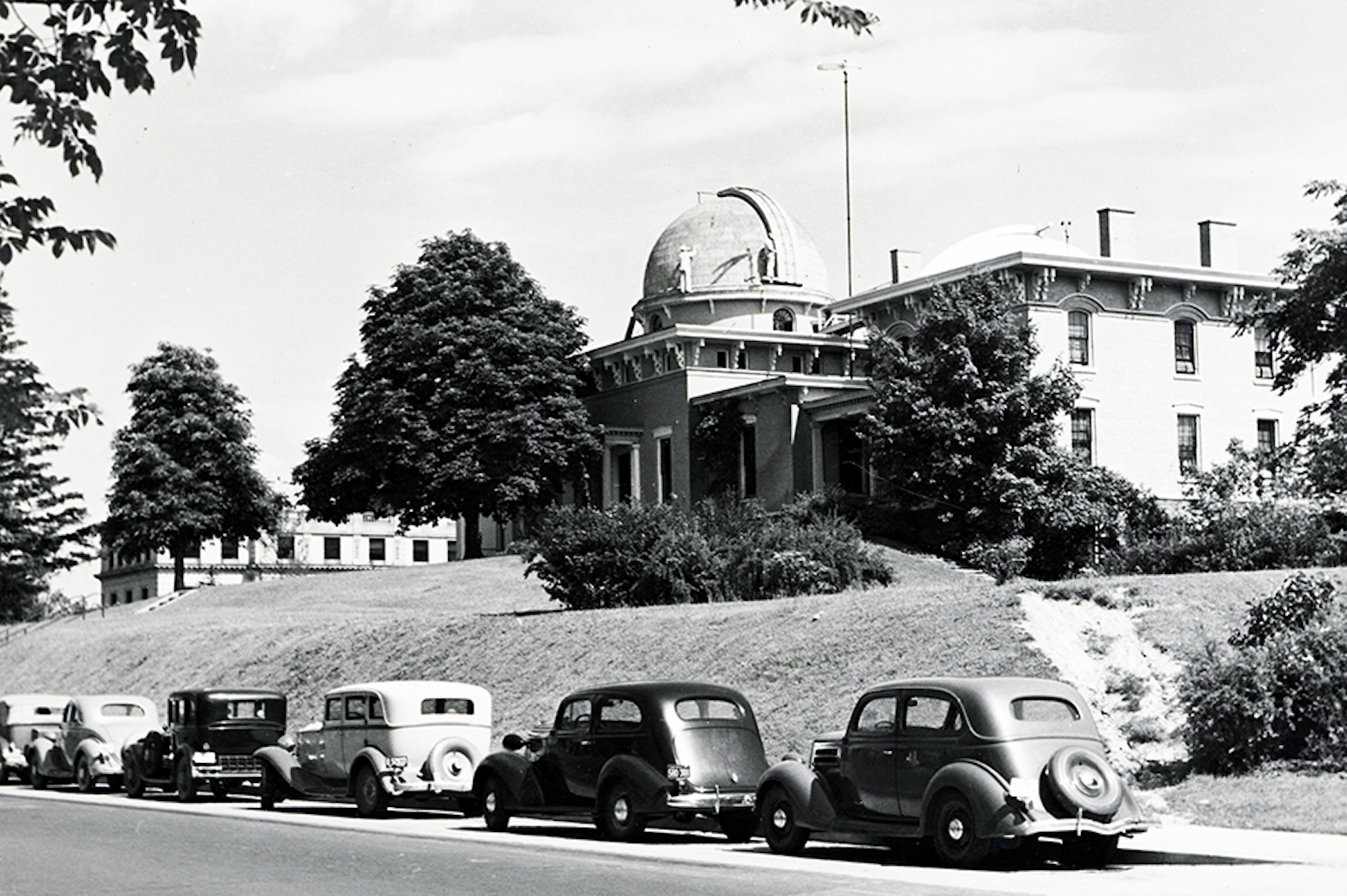 Black and white photo of the Detroit observatory