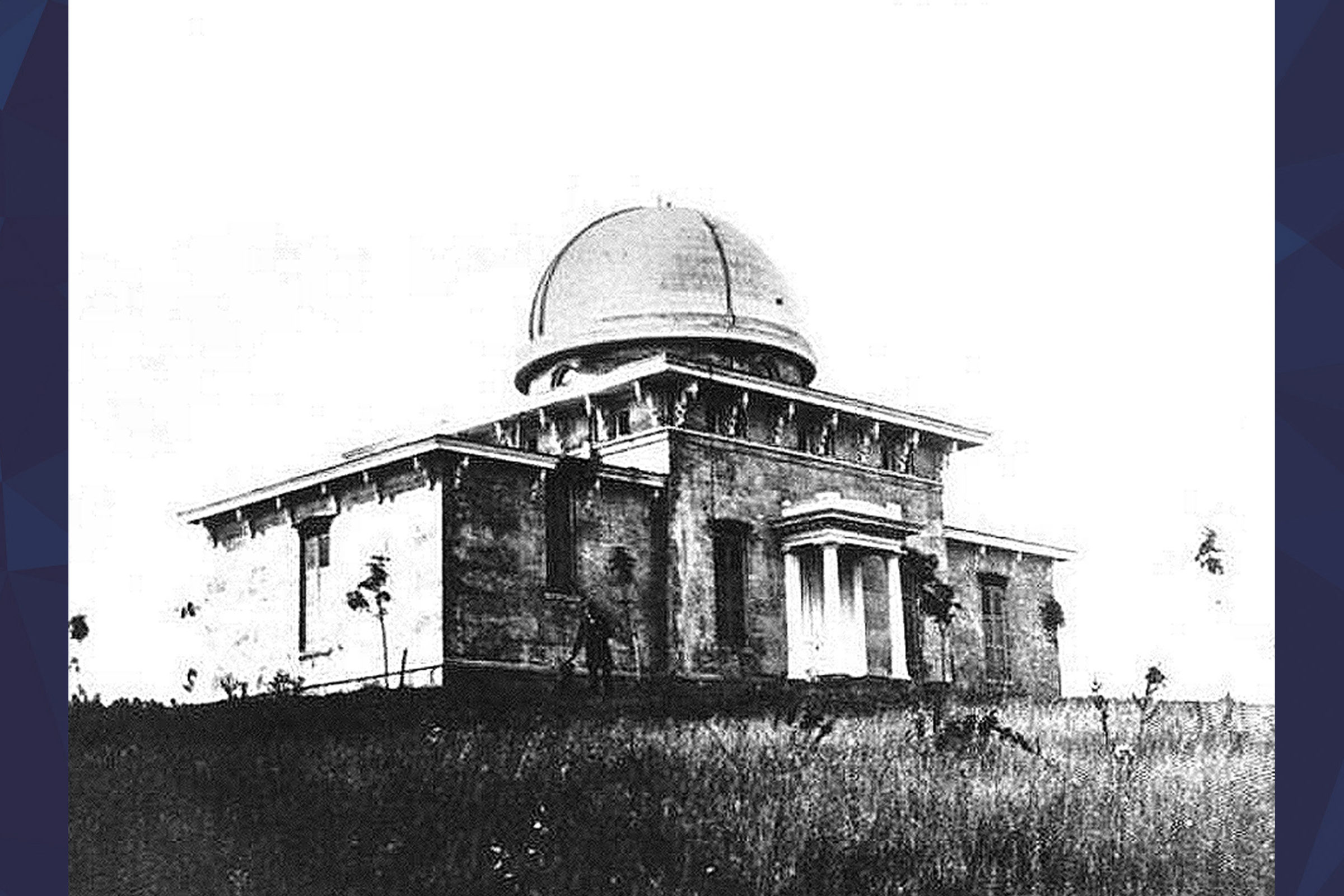 Black and white photo of Detroit Observatory