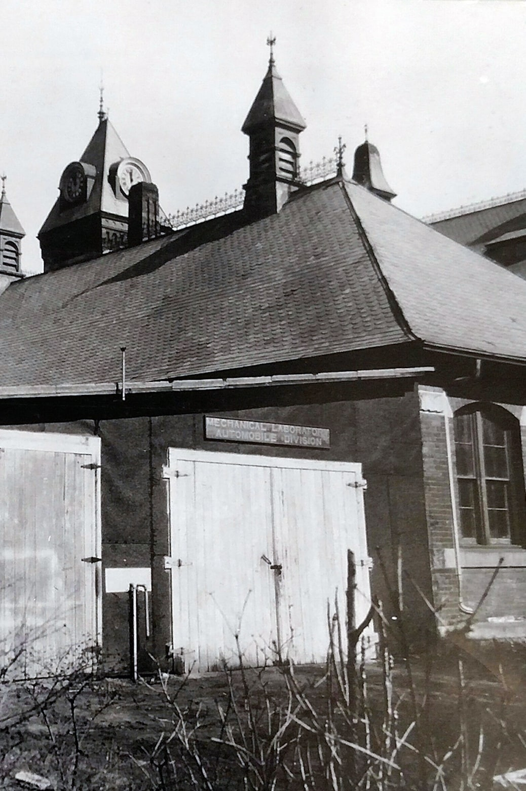 Black and white photo of the old Mechanical Laboratory Automobile Division building