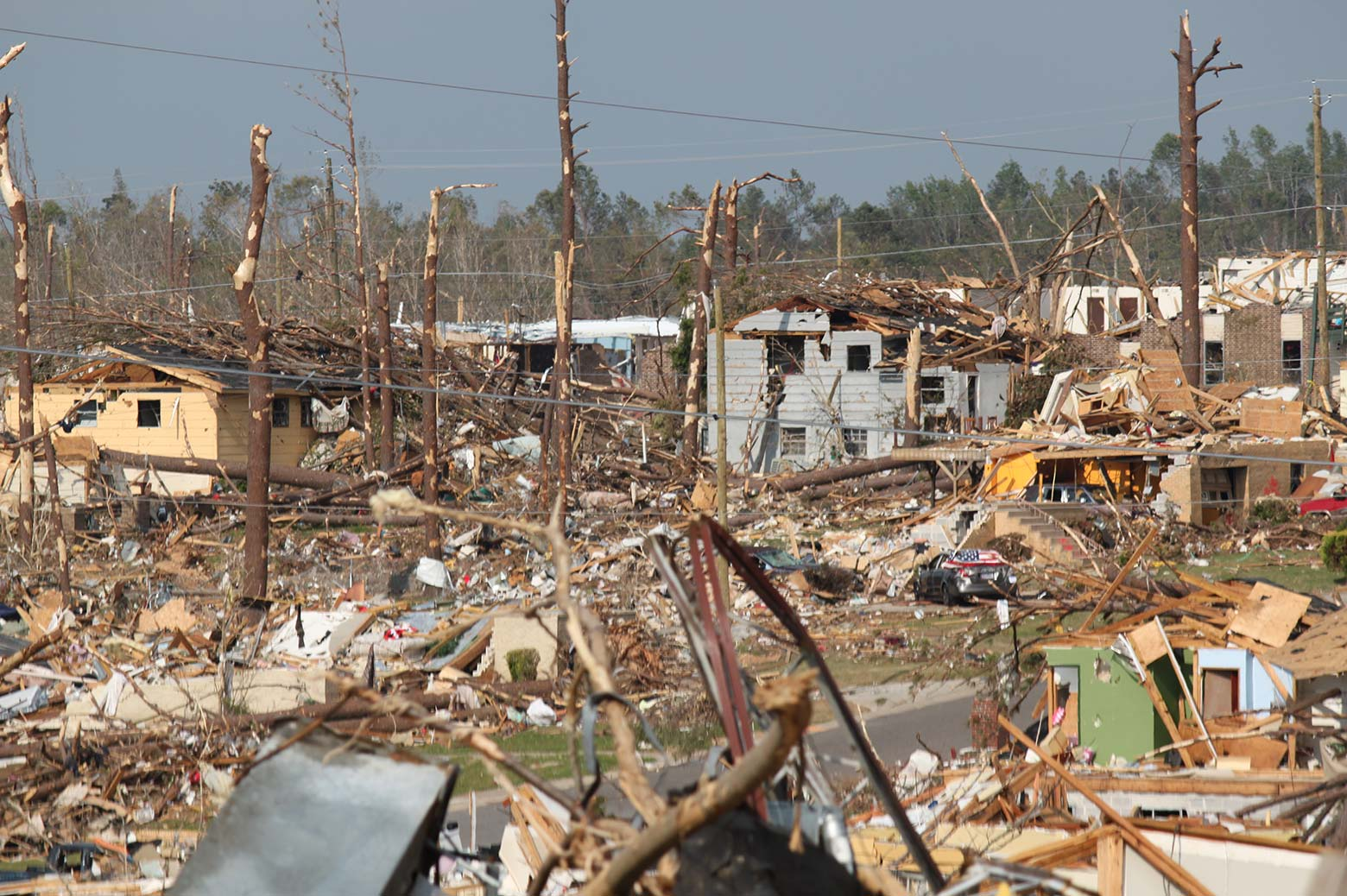 A town destroyed by a natural disaster