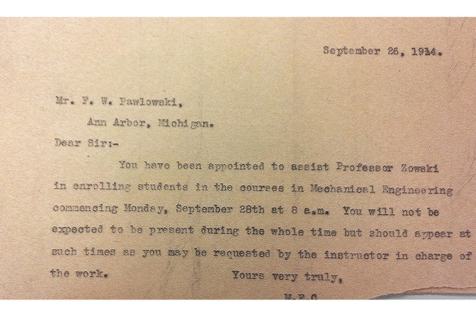 A typewriter written letter to Felix Pawlowski