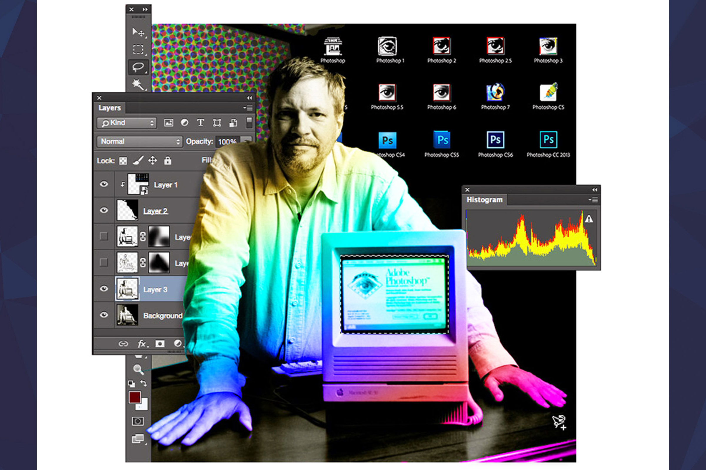 Portrait of Thomas Knoll photoshopped with rainbow colors