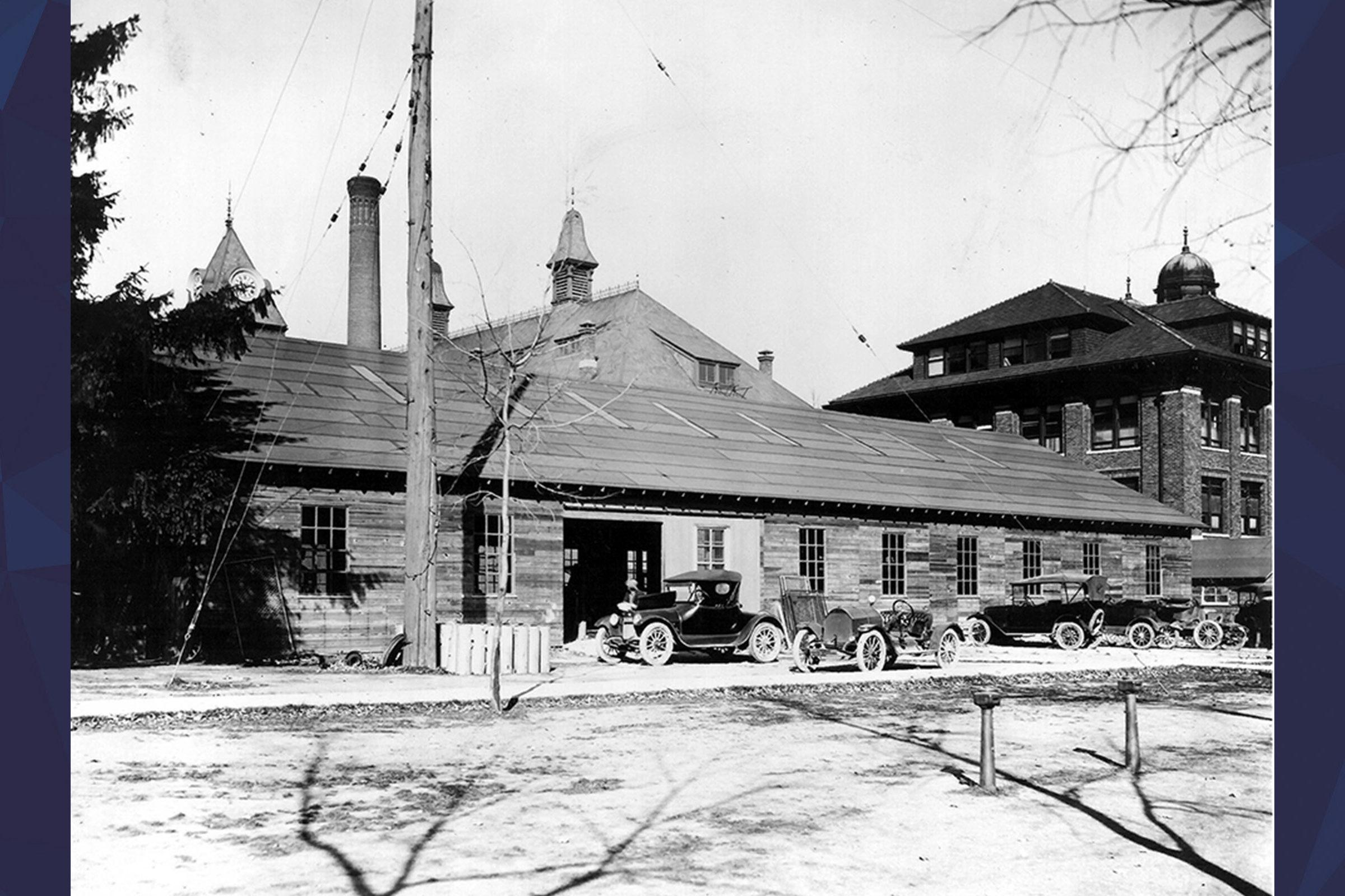 Black and white photo of U-M campus