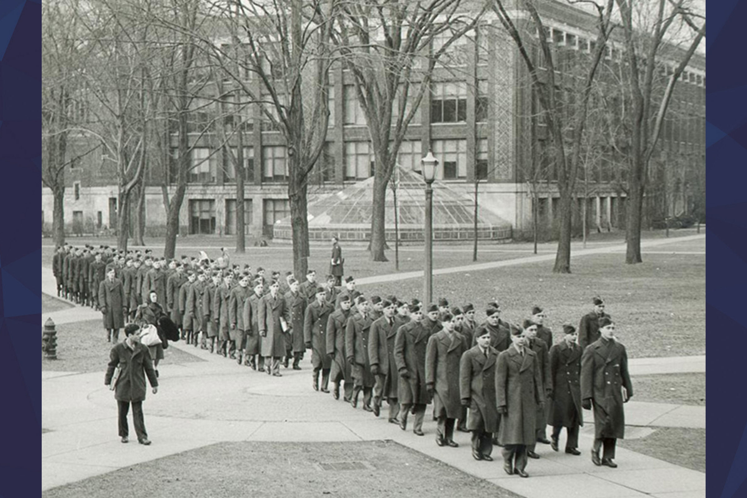 Soldiers lined up in the diag during World War II