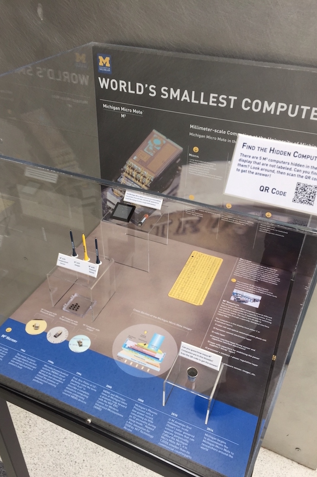 display case of the smallest computer