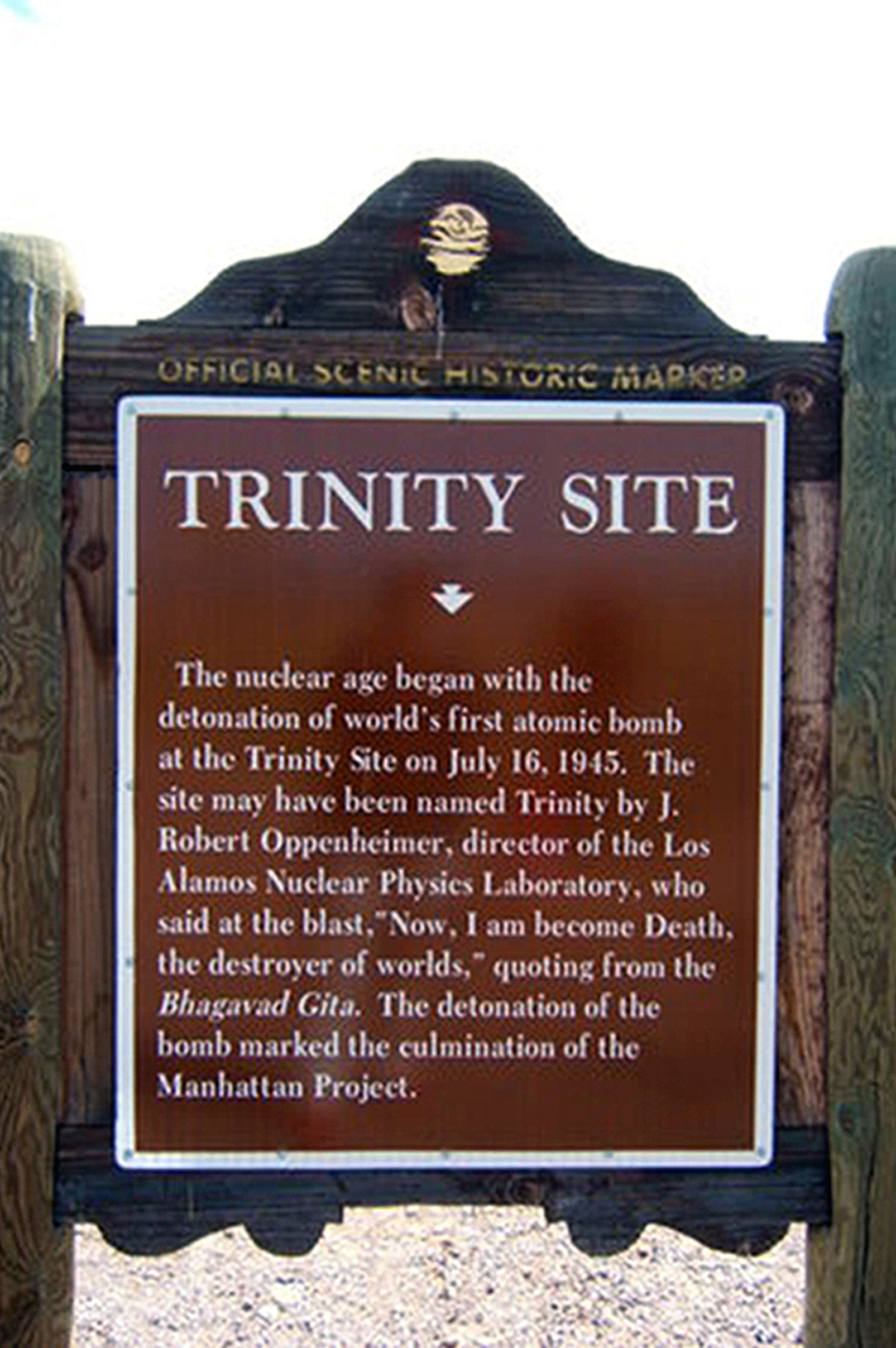Image of the sign posted at the Trinity Site