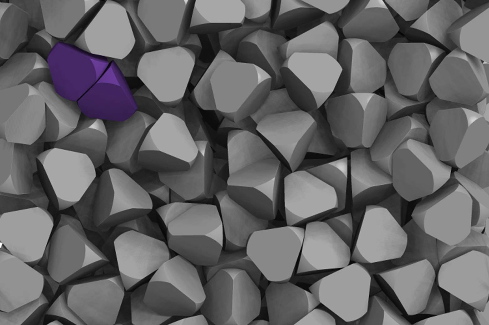 Computer model of purple tetrahedra beginning crystallization.