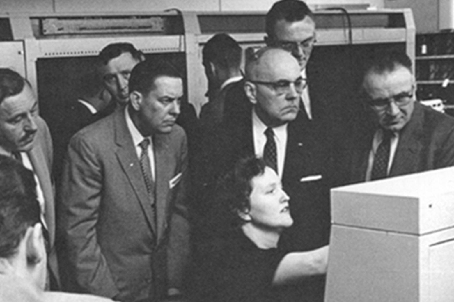 Irma Wyman at a computer