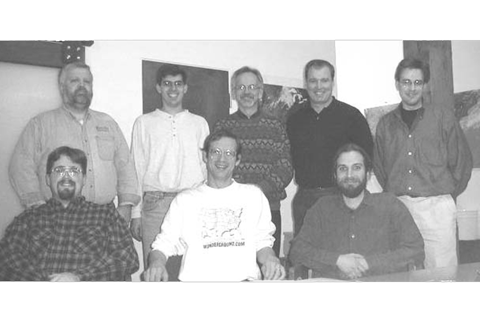 Black and white picture of the 1998 Wunderground employees