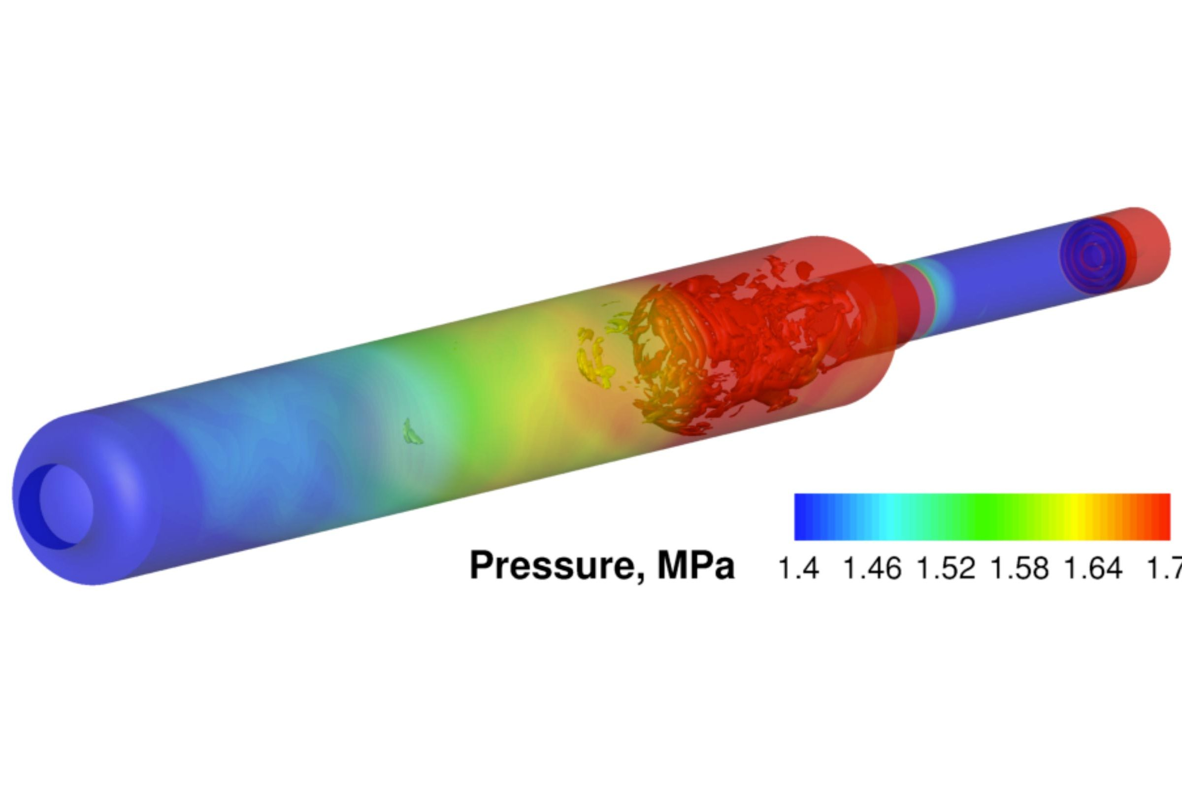 A simulation of combustion and pressure inside a rocket engine. The Air Force is funding research to predict whether new designs will be at risk of exploding.