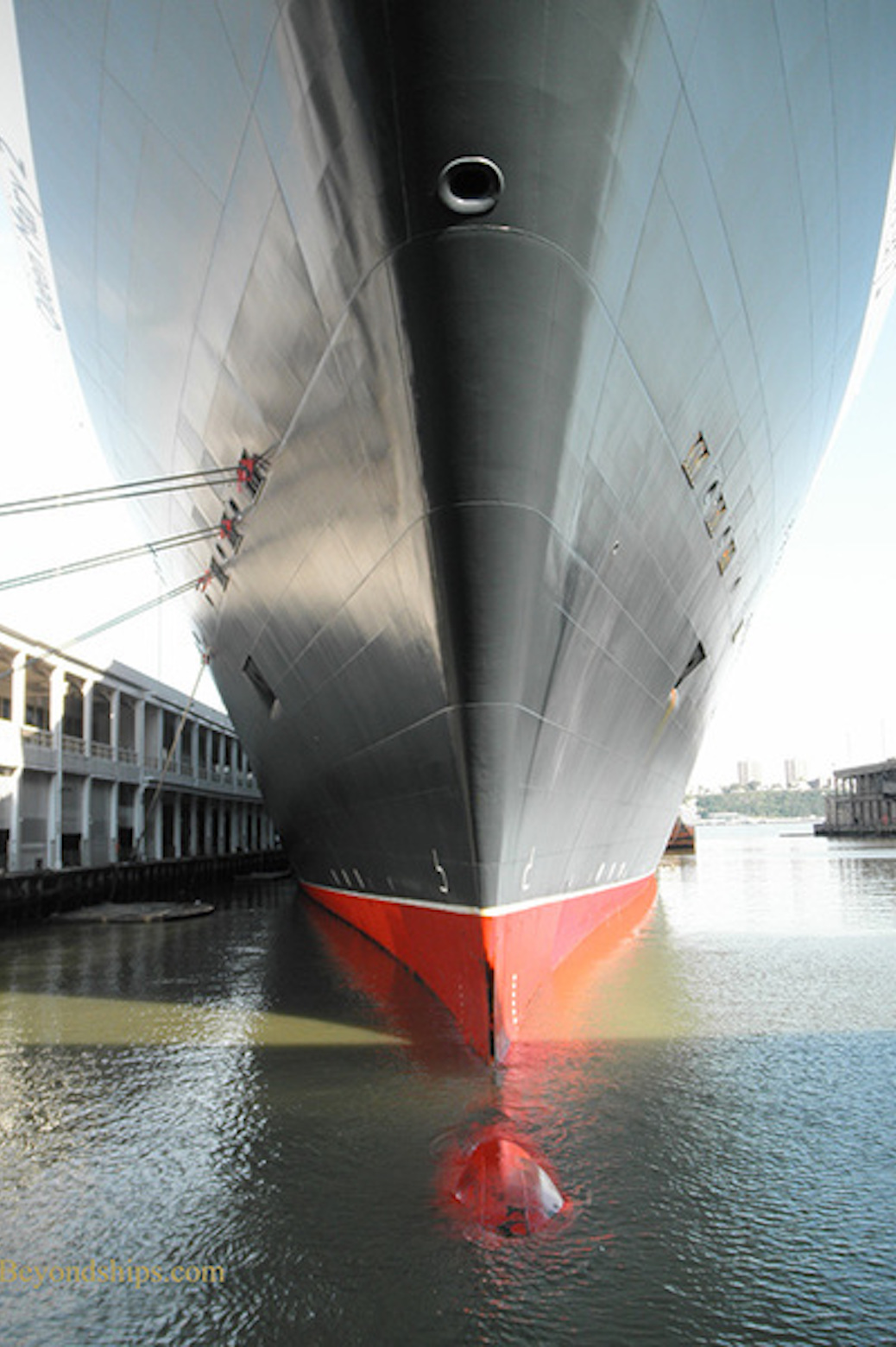 The famous Queen Mary 2 in the water with the bulbous bow visible
