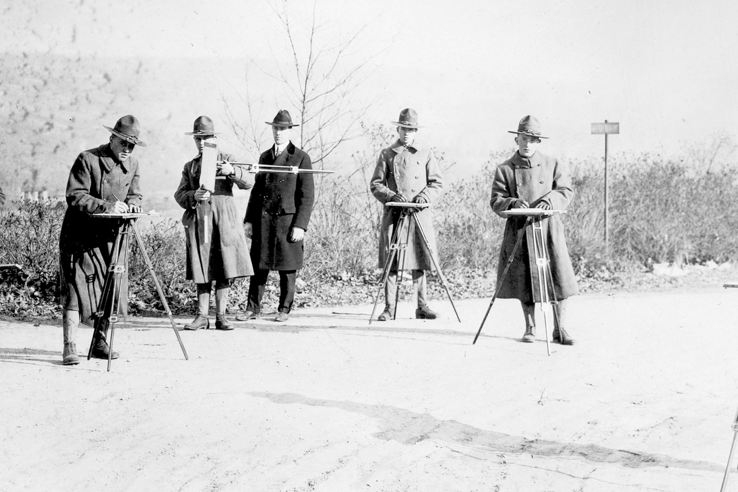 World War One era engineers use surveying equipment. Photo: Bentley Historical Library