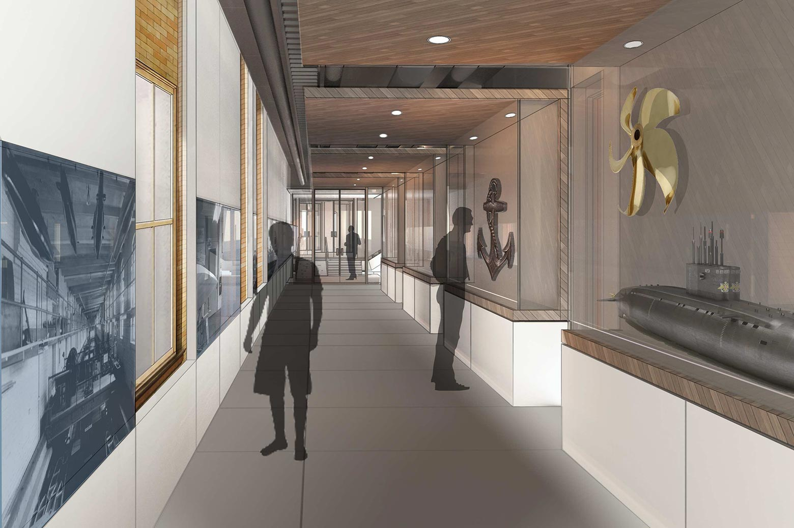 An artist's rendering of the new exhibit space in the Friedman Marine Hydrodynamics Lab.