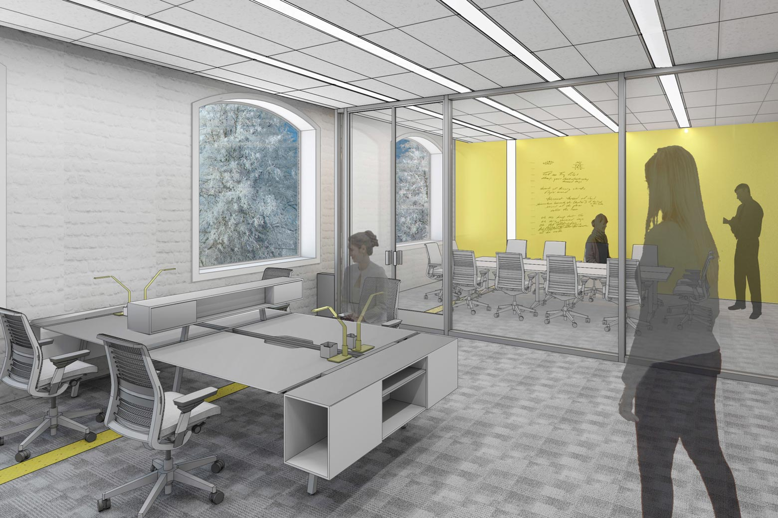 An artist's rendering of the renovated office space in the Friedman Marine Hydrodynamics Lab.