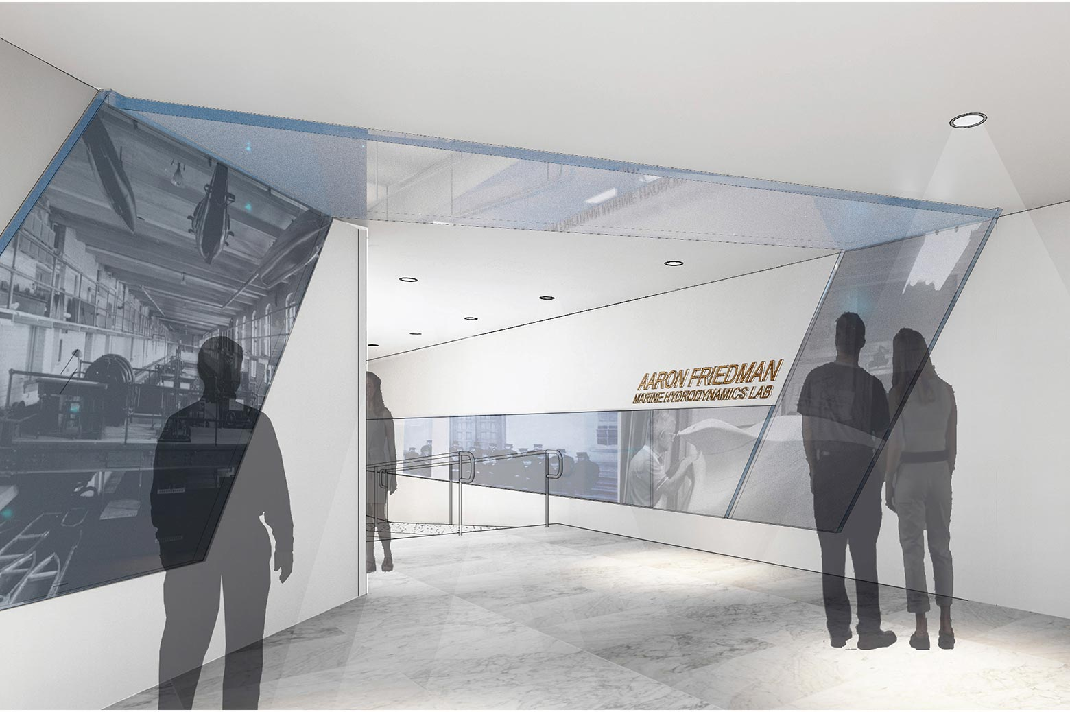 An artist's rendering of the renovated interior vestibule in the Friedman Marine Hydrodynamics Lab.