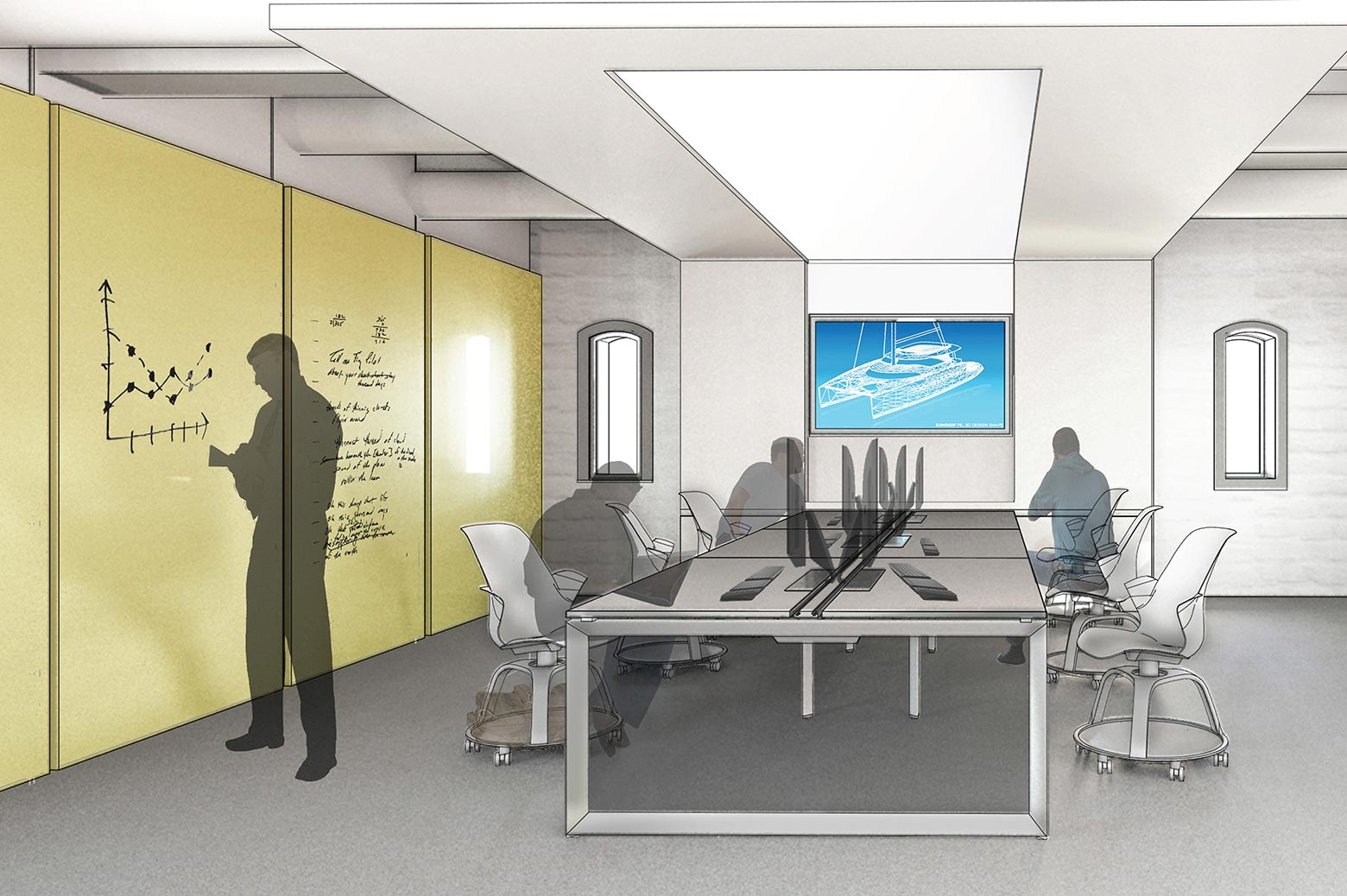 An artist's rendering of the renovated work space in the Friedman Marine Hydrodynamics Lab.