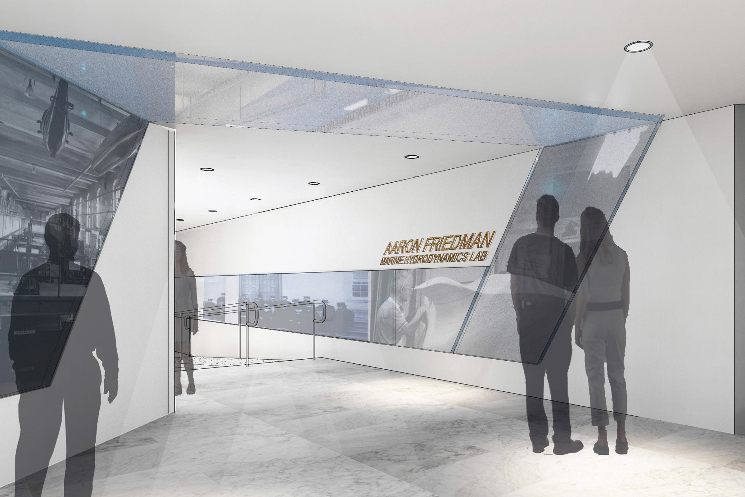 An artist's rendering of the renovated interior vestibule in the Friedman Marine Hydrodynamics Lab.