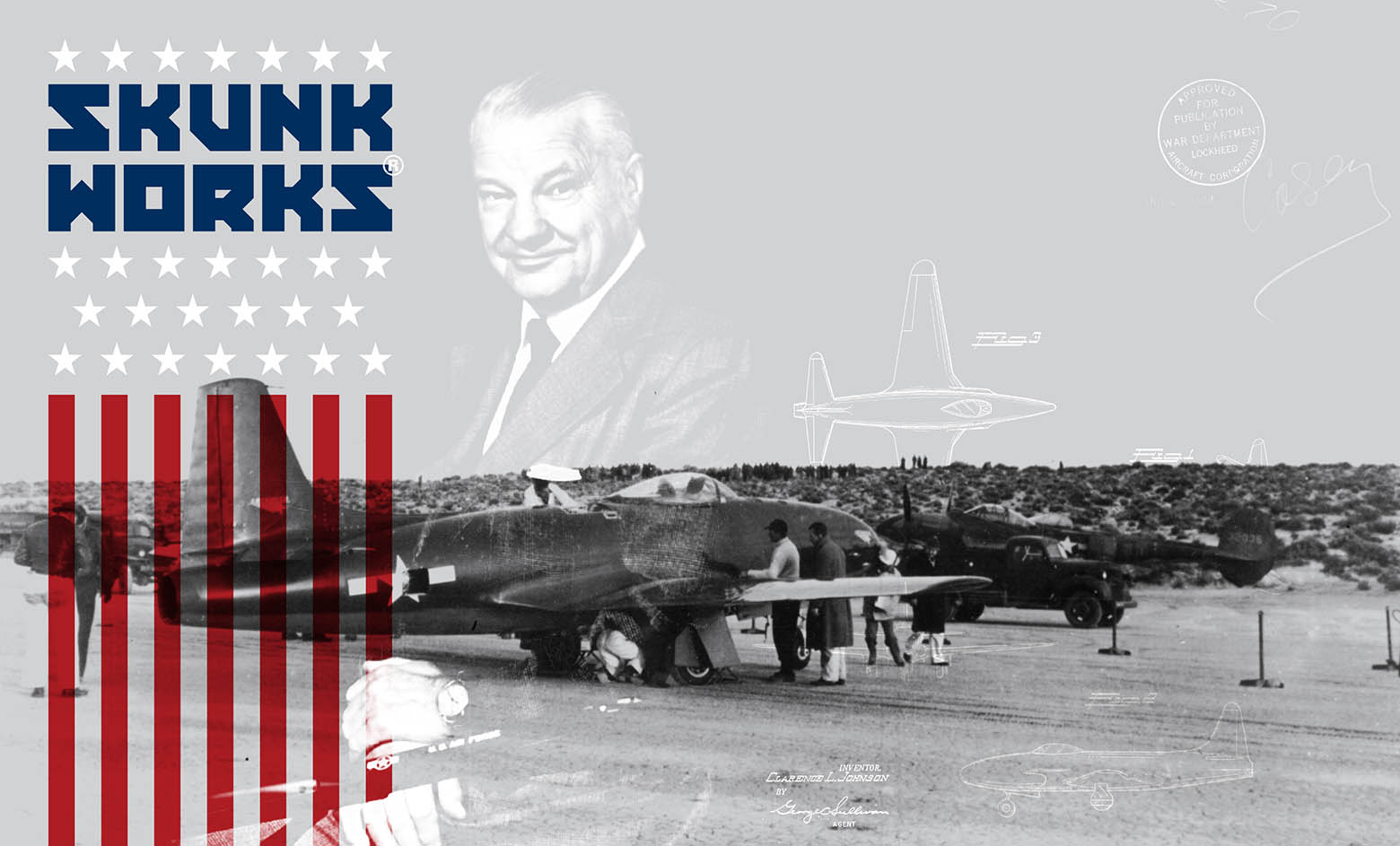 A manufactured image of Michigan alumnus Kelly Johnson superimposed over a historical image of a Lockheed P-80 fighter jet.