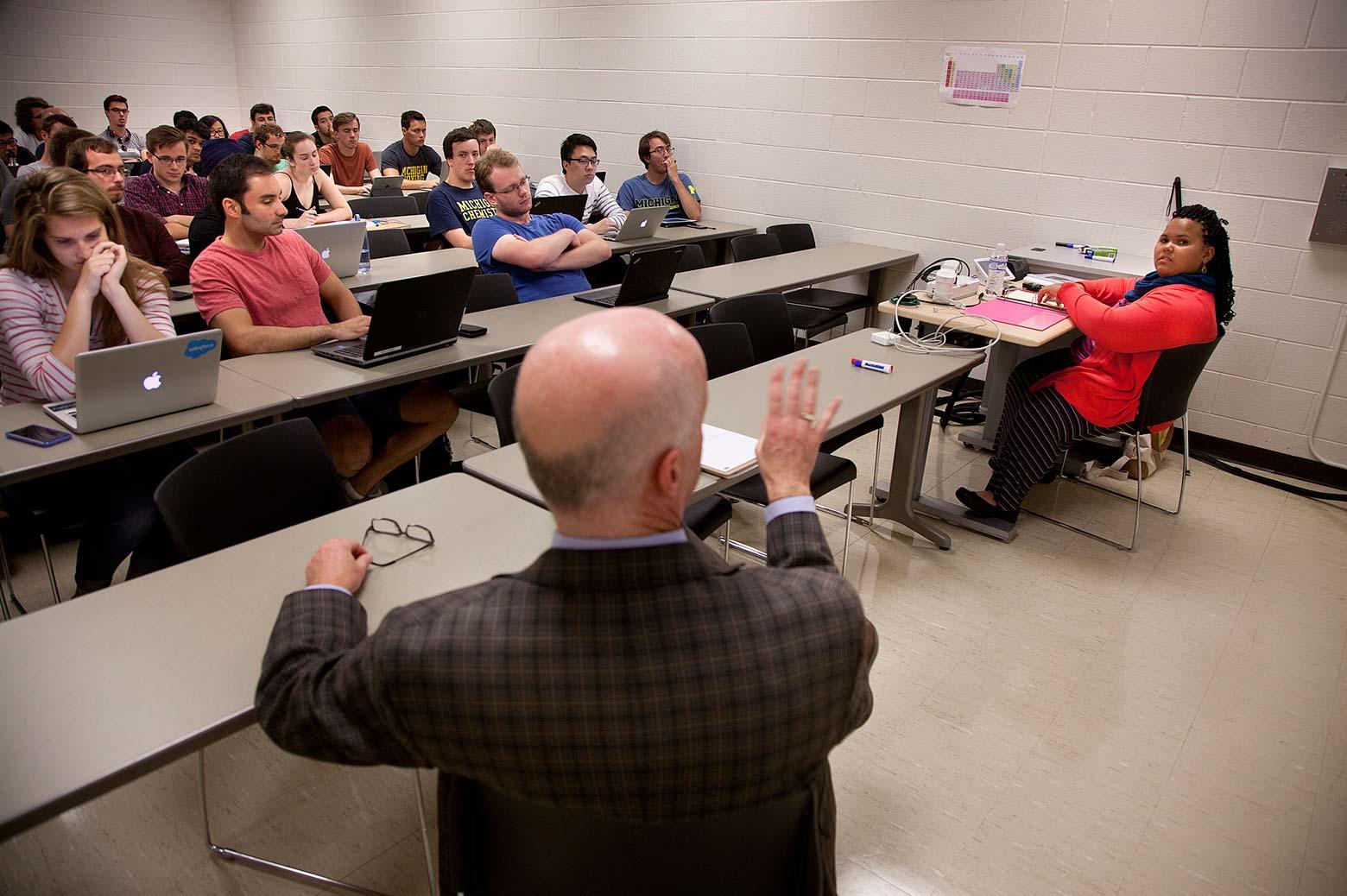 David Chesney speaks to his classroom
