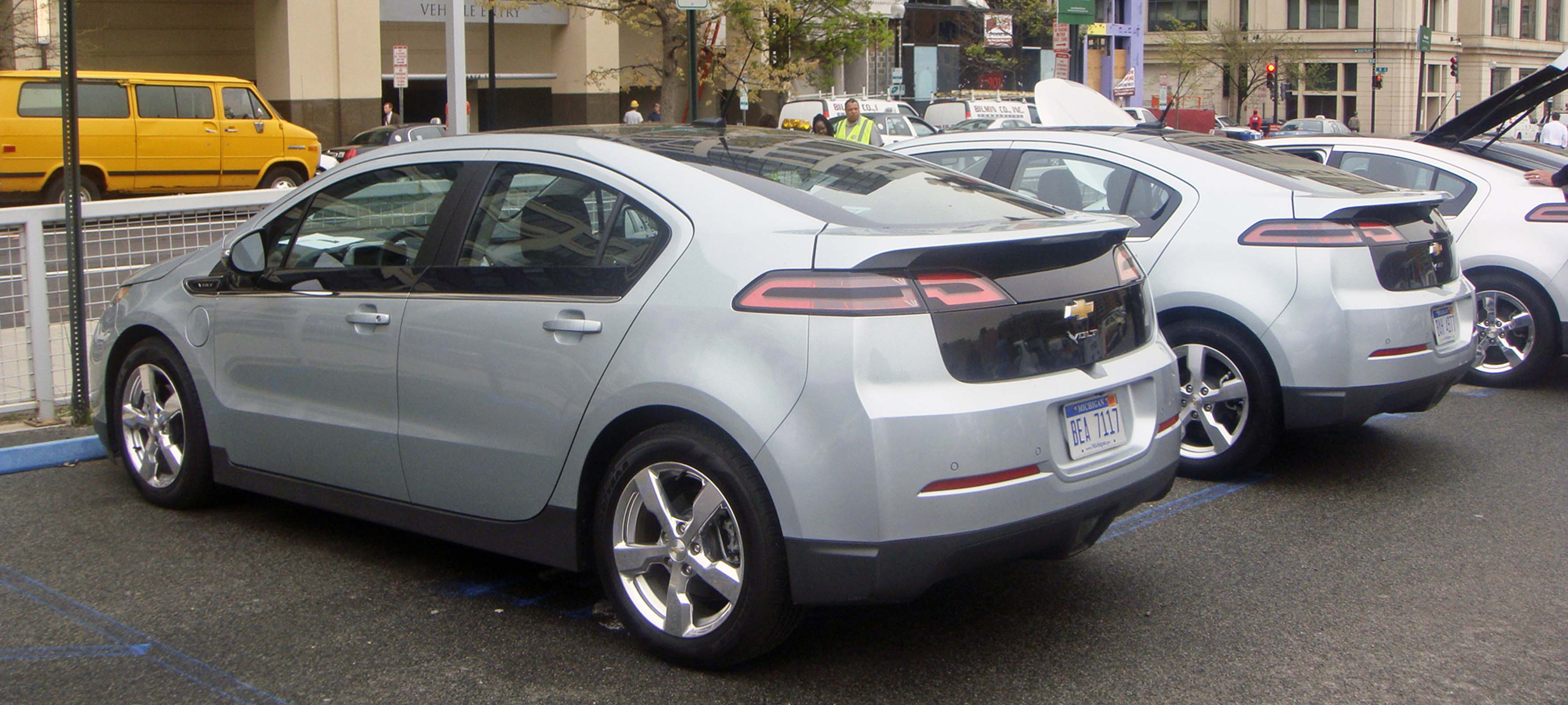 Chevy Volts parked in a row