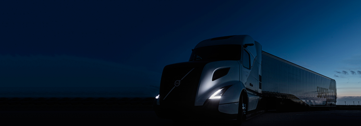 Volvo's new super truck at night. Photo: Michigan Engineering.
