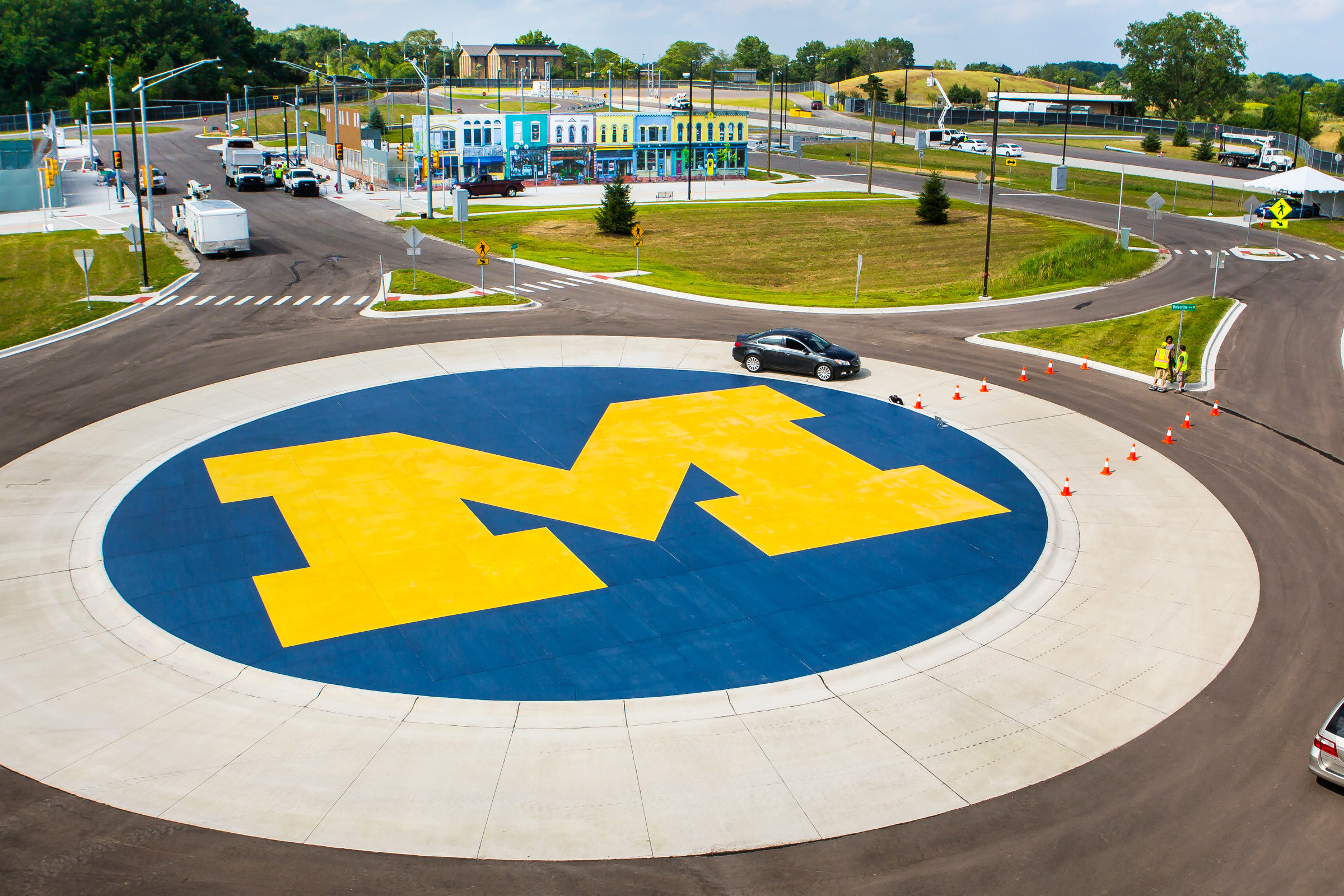 An aerial view of MCity in Ann Arbor
