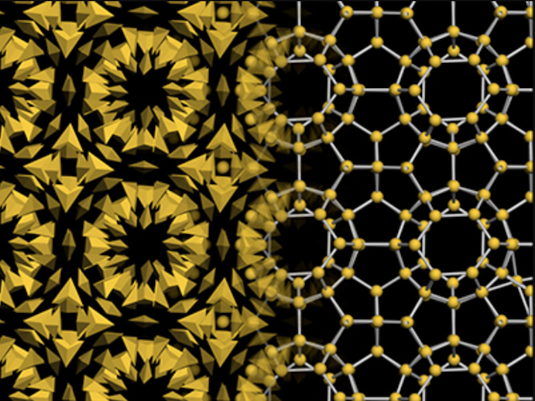 The gold nanoparticle bipyramids assembled into a complex structure, known in chemistry as a clathrate. Photo: Mirkin Lab, Northwestern University.