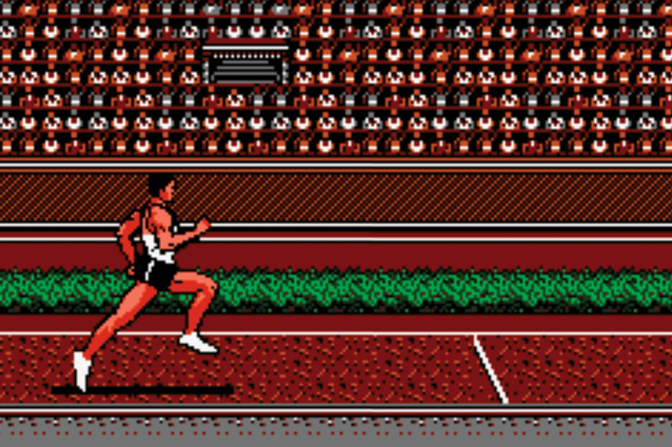 Bitmapped image of a runner approaching the finish line.