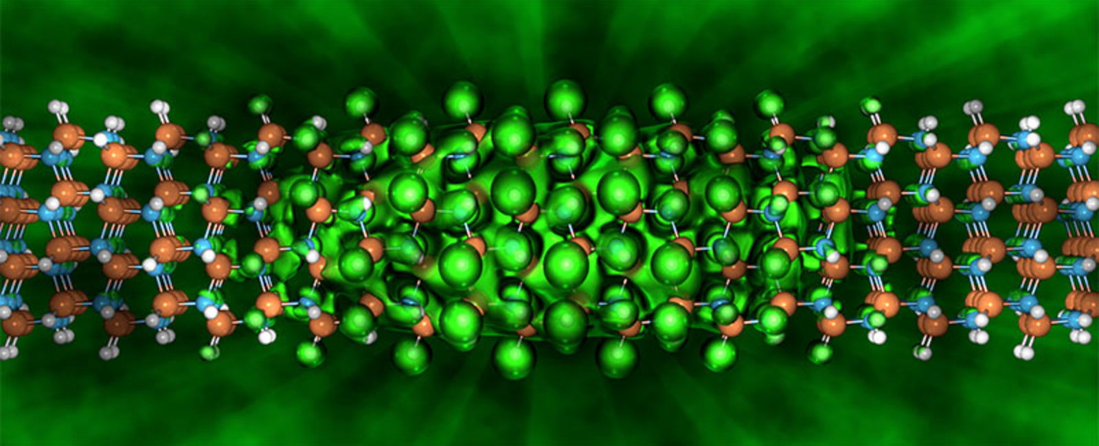 An electron's location probability distribution shown in bright green and confined by the wire.