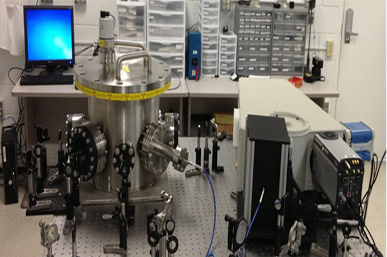 The optical setup for the experiment that showed how to differentiate weaponizable uranium from ordinary uranium by scanning it with a laser