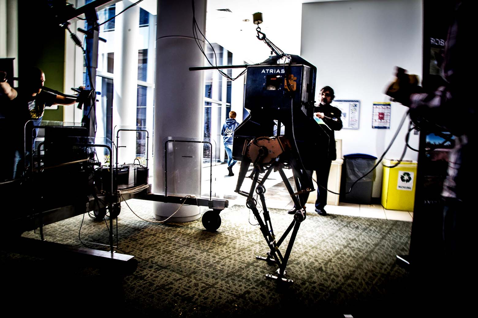 MARLO, a bipedal robot, standing in place.