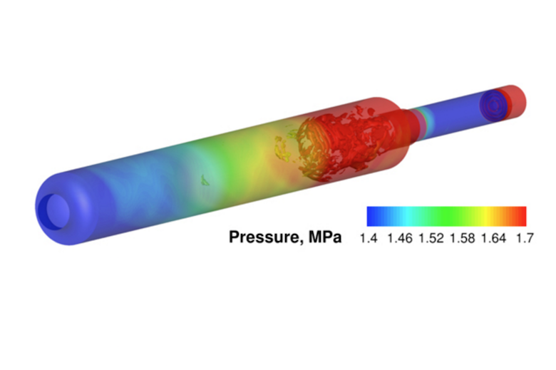 A simulation of combustion and pressure inside a rocket engine. Photo: Computational Aerosciences Lab, University of Michigan