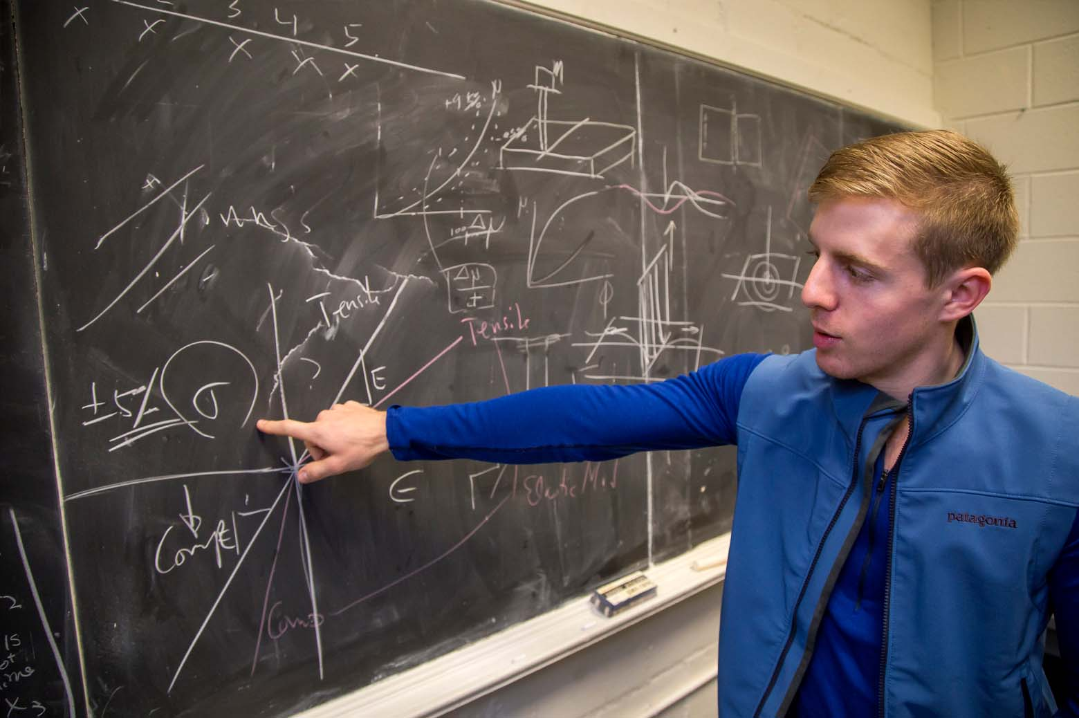 Mark stands at a chalkboard and points at equations.