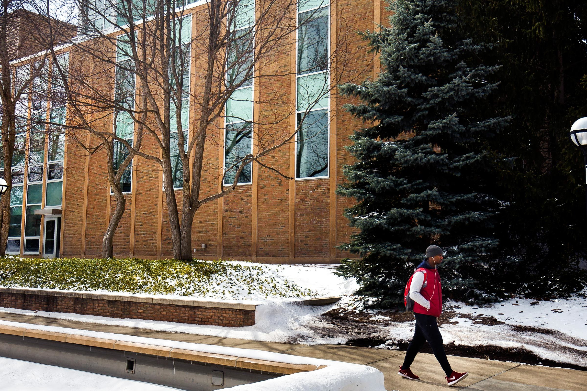 Students walk by the Nuclear Engineering Laboratory on North Campus
