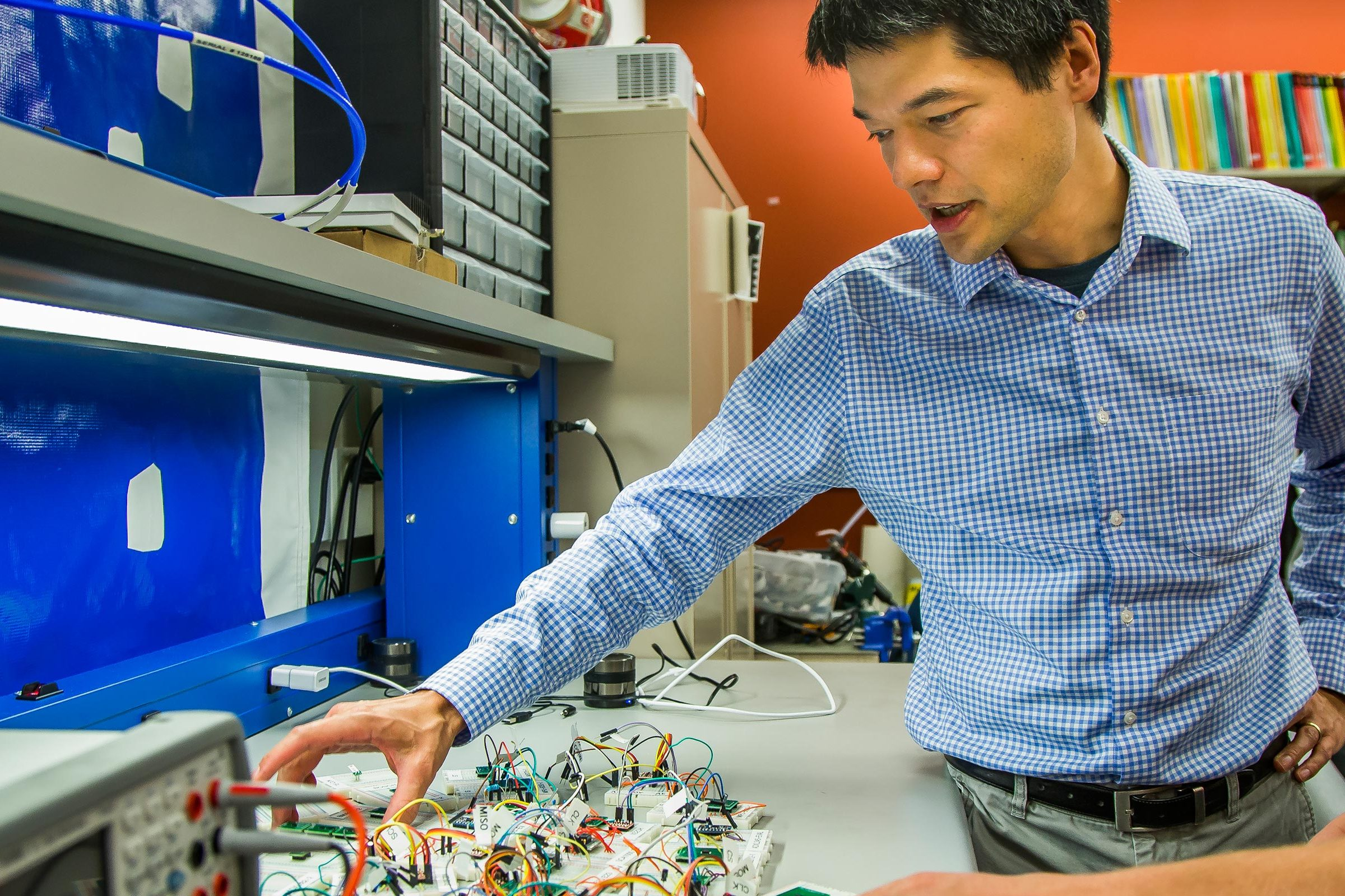 Scientist examines an accelerometer sensor