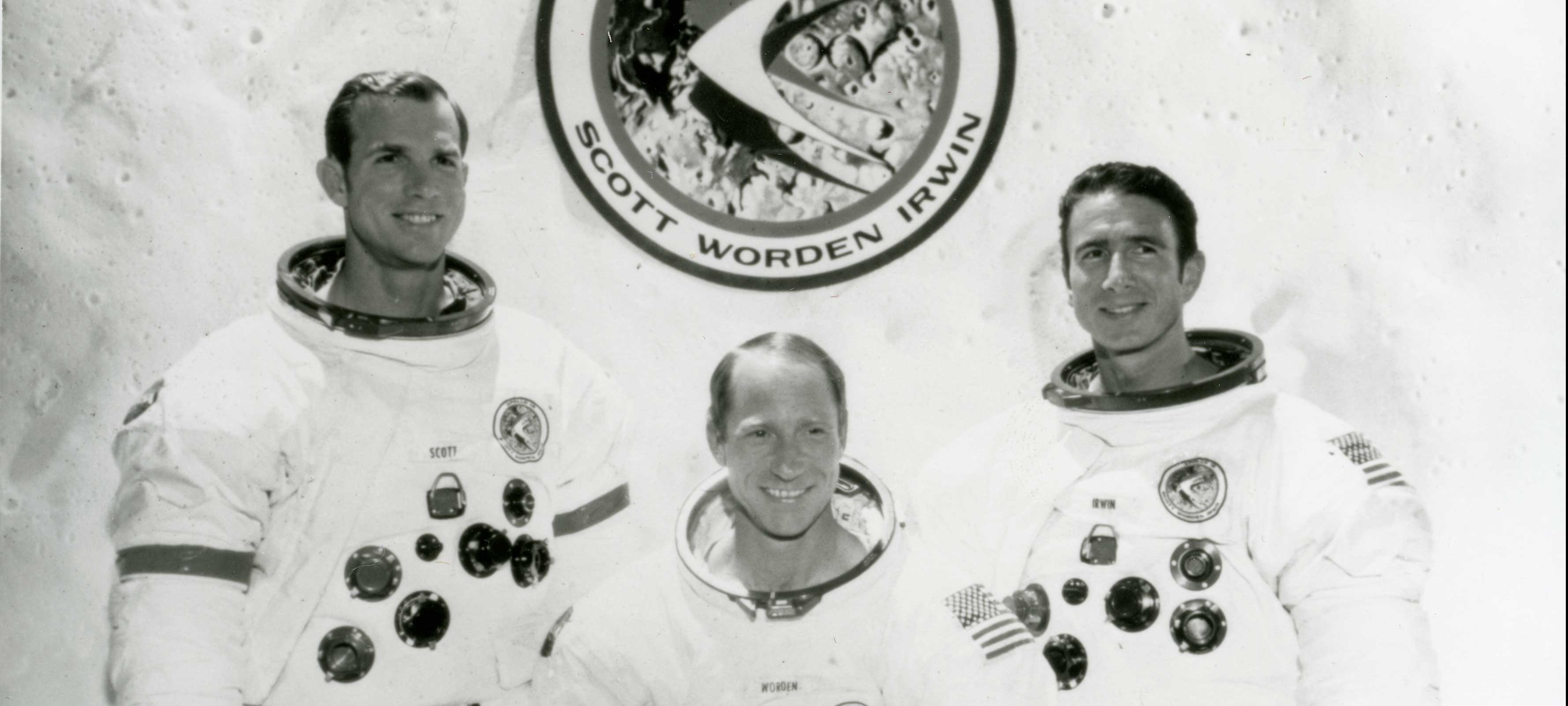 Black and white image of astronauts