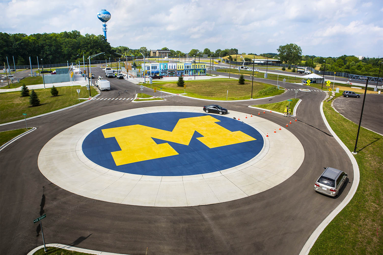 An aerial view of the large block M painted within the roundabout at Mcity.