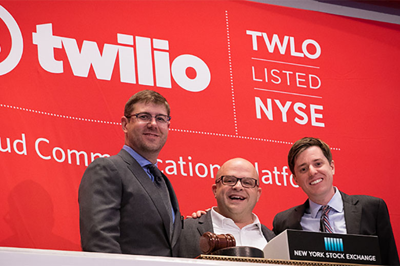 Twilio CEO Jeff Lawson and team members pose at the New York Stock Exchange after ringing the opening bell.