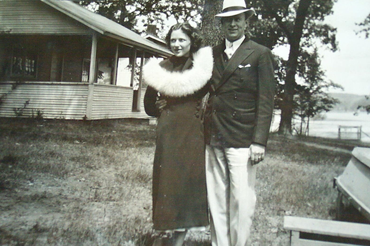 Clyde and Thelma Johnson at their cottage on the lake
